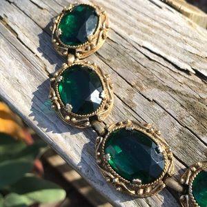 Stunning emerald glass ornate bracelet
